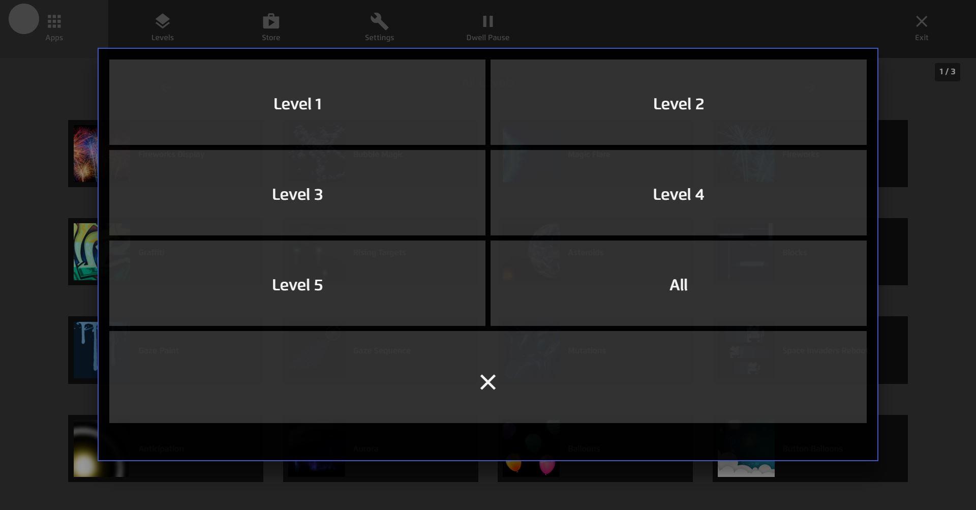Magic Eye FX Gaze Menu Levels